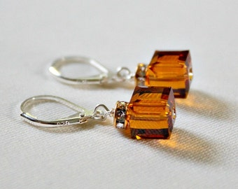 November Birthstone Earring,Topaz Crystal,50th Birthday Gift For Woman,November Birthstone Crystal,For Daughter,40th Birthday Gift Woman