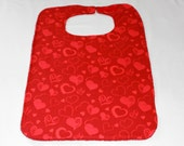 Womens Adult Bib/Clothing Protector - Reversible - Terry Cloth/Cotton -  Red Hearts