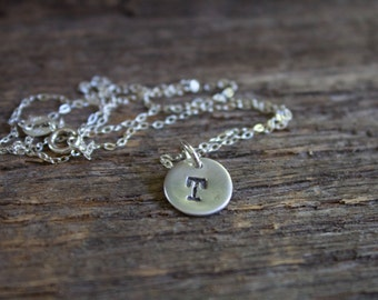 Tiny Silver Initial Necklace, Small Silver Monogram Necklace, Silver Letter Necklace