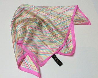 Vintage Echo Designer Silk Scarf, Hot Pink with Diagonal Stripes, Mint Condition