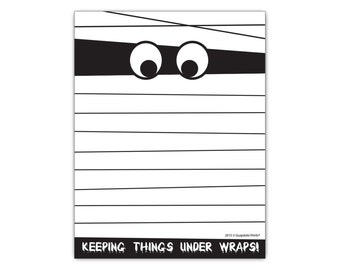 Funny Halloween Mummy Paper Notepad, Keeping Things Under Wraps Spooky Gag Gift Idea