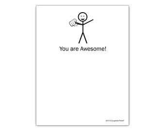 You Are Awesome! Funny Stationery Notepad by Guajolote Prints