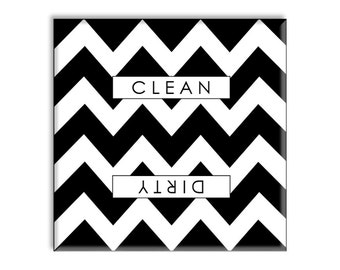 Guajolote Prints Clean Dirty Dishwasher Magnet Chevron Stripped Accent Decorative Design 2.5 x 2.5 Inches