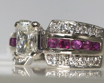 Unique 1.25 ct Emerald Cut Diamond Engagement / Wedding Ring Stunning Ruby & Diamond Side Stones Size 5.75 14k White Gold