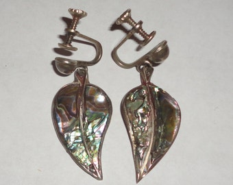 Alpaca Abalone Leaf Shaped Screw Back Earrings*