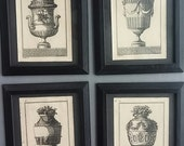ancient greece prints, black framed urn prints, greece urns
