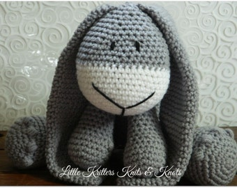 Light Grey Bunny Rabbit Amigurumi Stuffed Toy