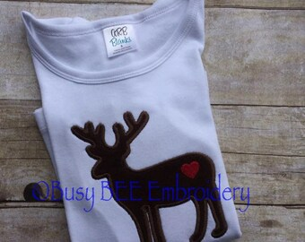 Valentine Deer Silhouette Applique