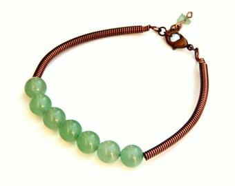 Green Aventurine bracelet, aventurine bangle, aventurine jewelry, heart chakra bracelet, healing bracelet, green aventurine, energy bracelet