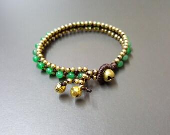 Jade  Brass Bead Bracelet