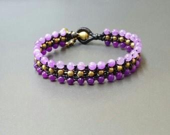 Triple Purple Shade  Brass  Bracelet