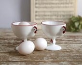 Vintage Rooster Egg Cups, Milk Glass Chicken Egg Cups, Westmoreland Milk Glass Egg Cups, Set of 2 Rooster Egg Cups