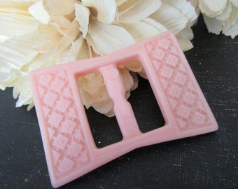 Vintage Pink Buckle  Plastic Textured Diamond Floral Design Baby Girl Pink