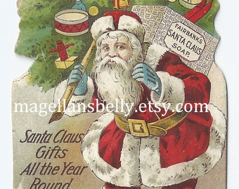 Santa Claus Instant Digital Download Art 1800's Trade Card  Victorian Era  Santa Claus Laundry Soap Christmas Tree Toys
