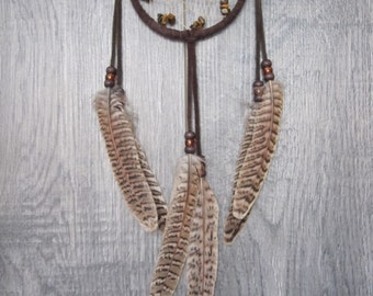 Dream Catcher Chocolate Brown Suede with Pheasant Feathers