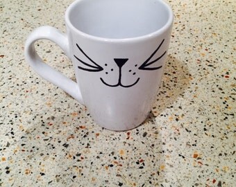 Cat face coffee mug