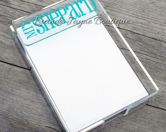 Acyrlic Notepad Holder with Personalization