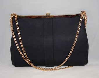 Vintage handbag navy 1960s with gold tone clasp and chain