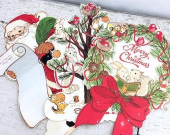Christmas in July 3 Heavy Stock Vintage Holiday Hallmark Die Cuts - Wall Decor