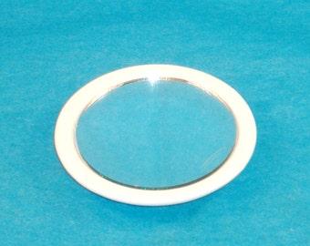 Elegant White Porcelain Round Purse-Pocket Mirror, Paintable Porcelain, Maryland China - GREAT CONDITION
