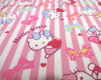 Japanese Fabric Hello Kitty Ribbon Stripe Pink FQ