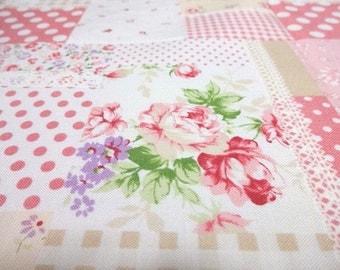 Japanese Fabric Flower Rose Patchwork Pink  Fat Quarter