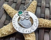 Mother's Jewelry Personalized Hand Stamped Mothers Necklace Personalized Jewelry Custom Made Gift for Grandma