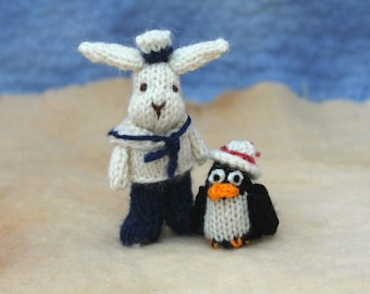Sailor bunny and quirky penguin knitting pattern PDF