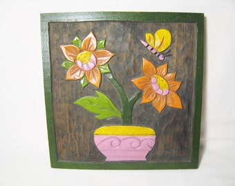20% OFF SALE / Vintage Hand Carved & Painted Wood Mexican Folk Art Flowers and Butterfly - Orange Pink Yellow Green Vintage Dorm Room Decor