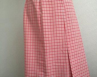 Red & White Plaid Skirt