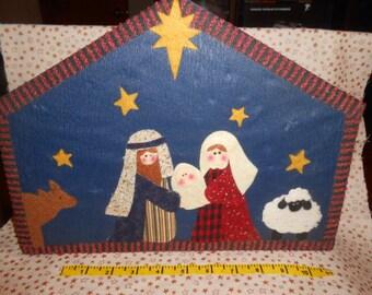 Felt Covered Box For A Bisque Nativity 10- Piece Set