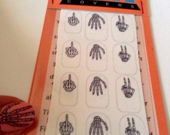 Calavera Hands Clear Nail Decals