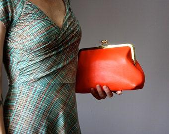 Frame clutch,  leather clutch, Coral / Orange clutch, Vintage Kiss Lock Frame Clutch, Evening Bag, Retro Style Clutch, bright leather clutch