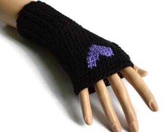 Black and Purple Heart Gloves, Ladies Crochet  Gloves,Womens Gloves, FREE UK P&P , Non Animal Fibres