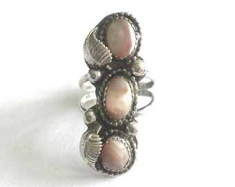 Vintage Navajo Large Sterling Silver Pink Mother of Pearl Ring