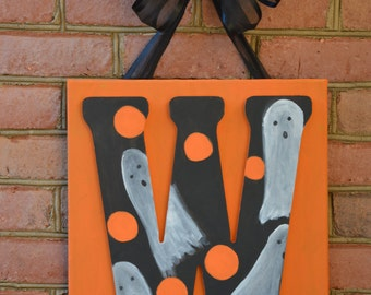 Halloween Door Decor, Halloween Door Hanger, Halloween Door, Halloween Decor, Monogram Fall Decor