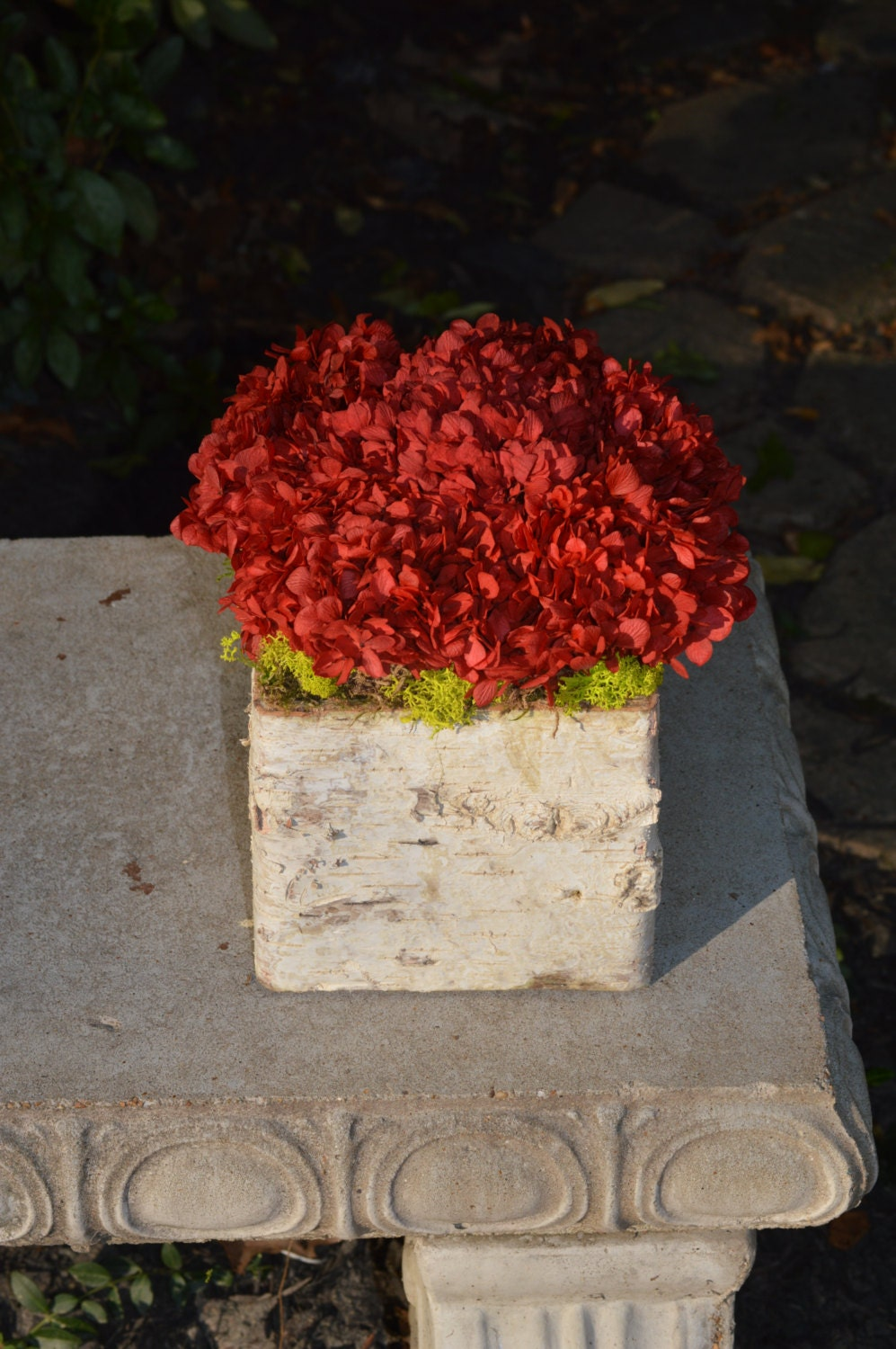 Red hydrangeas dried flower centerpiece