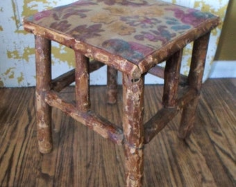 ON SALE Adirondack, Foot Stool, Ottoman, Twig, Log, Primitive, Rustic, Floral, Fabric, Cabin, Cottage Chic, Hickory, Hand Made,  Antique, Vi
