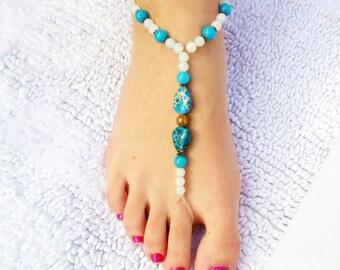 Blue Sea Sediment Jasper Barefoot Sandals-BS011