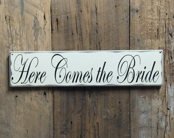 Here comes the Bride sign - Flower Girl Sign - Ring Bearer Sign - Rustic Wedding Sign - Here Comes Your Bride Sign - Wood wedding sign