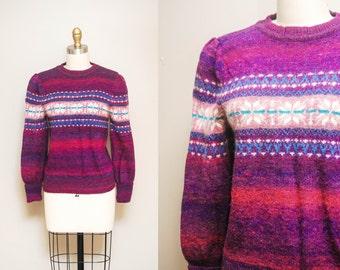 Vintage Angora Snowflake Sweater w/ Puffed Sleeves | 80s Purple Wool Ski Jumper | Medium