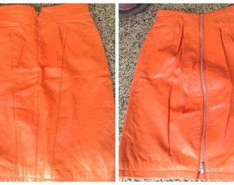 80's Orange Leather skirt, 'Yucatan Bay', high waist, fully lined, U.S. size 8, knee length, full body zipper, layaway, egst, Greece