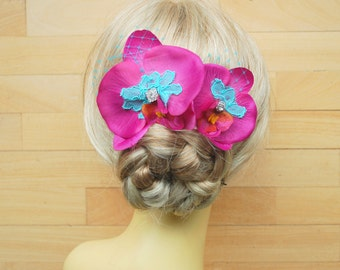 Pink Blue Orchids Bridal Combs, Weddings Hair Accessories, Bridal Orchids Hair Piece, Bridesmaids Comb, Beach Hawaiian Wedding, Prom