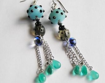 Long Dangle Earrings: Light Blue, Grey, Lampwork beads