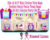 """African American Fun Bounce House Jump Play Birthday Party Treat Favor Gift Bags Mini 6""""x5"""" White Canvas Totes Children Kids Girls Boys"""