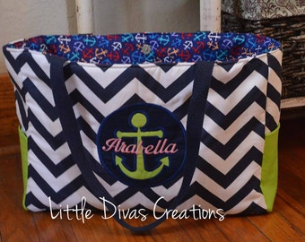 Handmade personalized anchor diaper bag