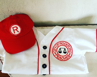 Boys Vintage baseball Jersey league of their own with matching hat