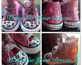 Custom Crystal Rhinestone Leopard Converse Shoes - Swarovski Crystals - Cheetah Print Custom Shoes