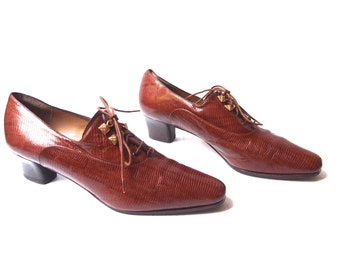 size 7.5 vintage ALBERTO GOZZI Italian leather heeled oxford shoes