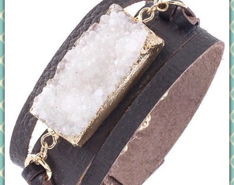 Whit Druzy and Leather Cuff